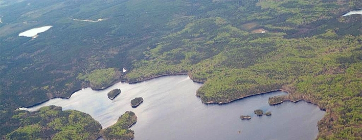 Lac Seul Lake surrounded by forest
