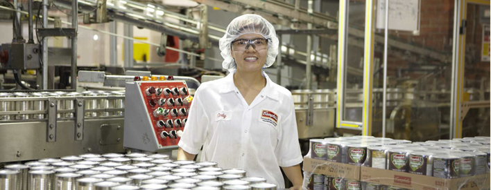 A worker at the Campbell Soup Company in Etobicoke.