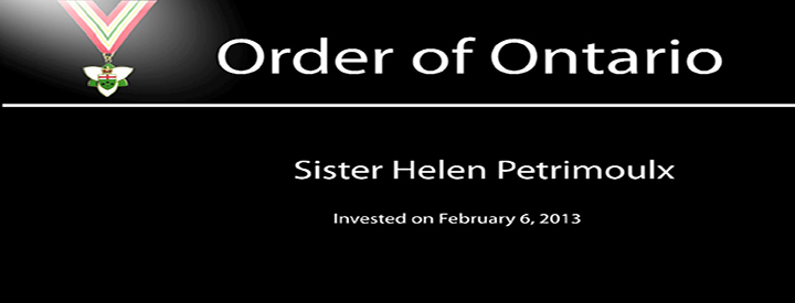 Sister Helen Petrimoulx is among 25 extraordinary Ontarians appointed to the Order of Ontario.