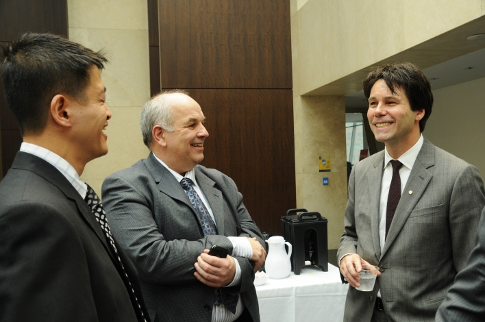 Dr. Phillip Chan, Associate Dean and Bridge Training Director at Ryerson University talks with Kim Allen, CEO of Professional Engineers Ontario and Dr. Eric Hoskins at Ryerson University about proposed changes to remove barriers for internationally trained engineers