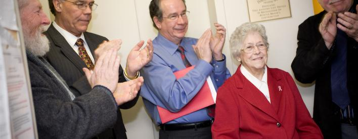 Residents dedicate a new lift to Myrtle Brock, a resident of Norwood, Ontario