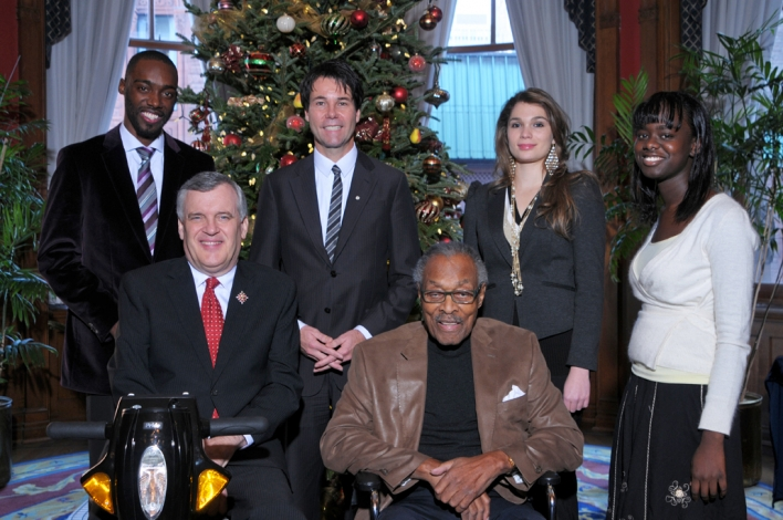 Pictured are the three recipients of this year's Lincoln Alexander Award. Back Row from L-R - Antonius Jamal Clarke of Toronto, Minister of Citizenship and Immigration, Dr. Eric Hoskins, Mariajosé Lopez of Toronto, Sophia Kemeh of Brampton. Front Row from L-R - The Honourable David C. Onley, Lieutenant Governor of Ontario, the Honourable Lincoln M. Alexander, former Lieutenant Governor of Ontario.