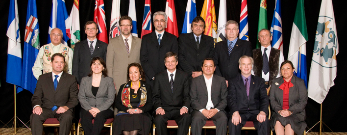 Front Row (Left to Right): The Hon. Len Webber, Alberta; The Hon. Patty Pottle, Newfoundland and Labrador; Jeannette Corbiere Lavell, Native Women's Association of Canada; The Hon. Chris Bentley, Ontario; Shawn A-in-chut Atleo, Assembly of First Nations; The Hon. Bill Hutchinson, Saskatchewan; Betty Ann Lavallée, Congress of Aboriginal Peoples. Back Row (Left to Right): Clément Chartier, Métis National Council; Brian Skabar, Nova Scotia; The Hon. Chuck Strahl, Canada; The Hon. Floyd Roland, Premier of Northwest Territories; The Hon. Eric Robinson, Manitoba; The Hon. Pierre Corbeil, Quebec; Jim Lyall, Inuit Tapiriit Kanatami.