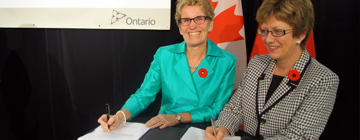 The Honourable Diane Finley, Minister of Human Resources and Skills Development and Minister Responsible for Canada Mortgage and Housing Corporation (CMHC), along with the Honourable Kathleen Wynne, Minister of Municipal Affairs and Housing and Minister of Aboriginal Affairs, made the announcement today.