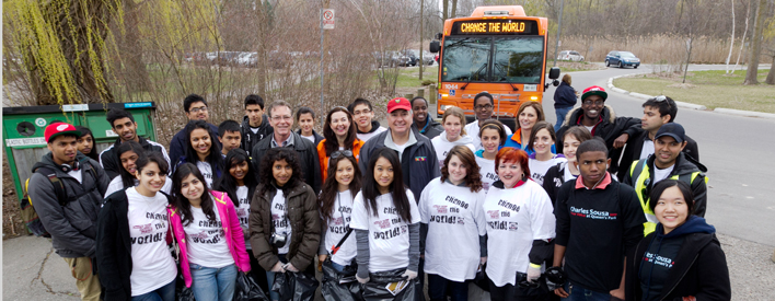 Minister Charles Sousa launches the 5th annual ChangeTheWorld Youth Volunteer Challenge in Mississauga.