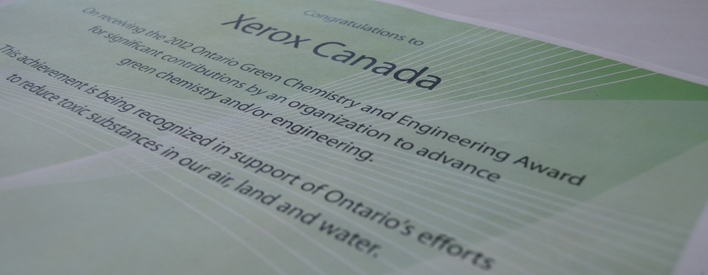 Le certificat de Xerox Canada.