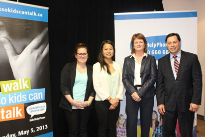 Mental Health Innovation Fund announcement at Kids Help Phone. Ciara Byrne, President, College Student Alliance; Alysha Li, President of Ontario Undergraduate Student Alliance; Sharon Wood, CEO of Kids Help Phone; and Minister Brad Duguid, Ministry of Training, Colleges and Universities