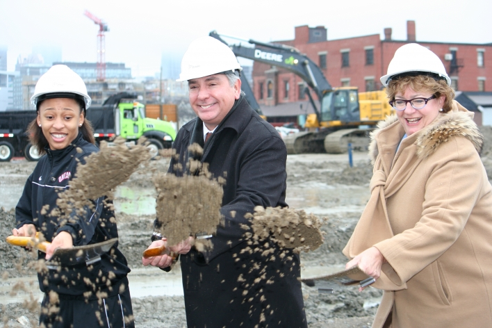 Shovels in motion and all smiles at the ground breaking ceremony of the new West Don Lands community that will be home to the Athletes' Village.  Pictured: Charles Sousa, Minister responsible for the Pan/Parapan American Games and Minister of Citizenship and Immigration; Anne Sado, President of George Brown College and Dakota White, Basketball Athlete and 2015 Pan Am Games hopeful. (12/01/12)