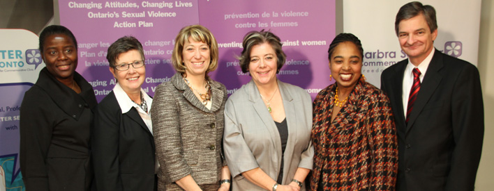 Minister Responsible for Women's Issues Laurel Broten released Ontario's Sexual Violence Action Plan with speakers (left) Jeanne Françoise Mouè, President, Action ontarienne contre la violence faite aux femmes (AOcVF); MPP Maria Van Bommel (Lambton-Kent-Middlesex); and (right) Amanda Dale, Executive Director, the Barbra Schlifer Commemorative Clinic which hosted the event; Jacqueline Benn-John, President, Ontario Coalition of Rape Crisis Centres (OCRCC), and Attorney General Chris Bentley.