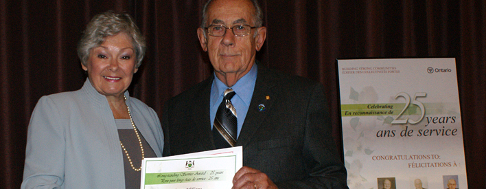 Former councillor Duane Williams of the Township of Stone Mills is the recipient of a 25-year Long-Standing Service Award from the Province of Ontario.