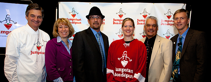 Left to right: Chris Bentley, Minister of Aboriginal Affairs, Laurel Broten, MPP Etobicoke-Lakeshore, Chief Jonathan Solomon, Kashechewan First Nation, Sami Jo Small, Olympic and World Champion, Grand Chief Louttit of the Mushkegowuk Tribal Council and Dan Thompson, President, Canadian Tire Jumpstart.