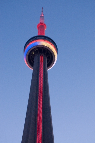 The CN Tower lit up in the colours of the Medicine Wheel the evening of June 17.  Ontarians are encouraged to celebrate National Aboriginal Day over the weekend and on June 21 at events in Toronto and across Ontario.  Find out about Aboriginal events in Ontario at www.ontario.ca/aboriginal.