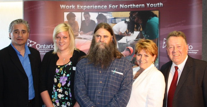 Northern Development, Mines and Forestry Minister and Chair of the Northern Ontario Heritage Fund Corporation (NOHFC), Michael Gravelle (far right), announced an additional investment of $5.5 million to support more than 300 job placements through the NOHFC's Youth Internship and Co-op Program.  Joining the minister for the announcement are, from left: Bill Mauro, Thunder Bay-Atikokan MPP, Brittany Tabachak, intern with Lakehead University, Dave Carr, President of Sumac Forest Information Services Ltd. of Thunder Bay, and Thunder Bay Mayor Lynn Peterson.