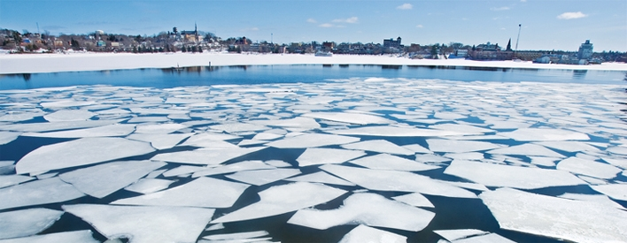 Ice breaks up on an Ontario lake.