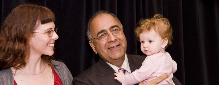 In this photo with Harinder S. Takhar, Minister of Government Services, baby Brooklyn's given name is one of those on the list of most popular baby names in Ontario.