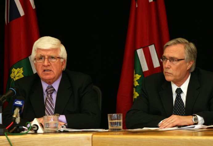 Northern Development and Mines Minister Rick Bartolucci (left) today announced that Ontario has chosen to take a new approach to regional transportation in northeastern Ontario by winding down the Ontario Northland Transportation Commission (ONTC). Joining the minister for the announcement was ONTC Chair Ted Hargreaves.