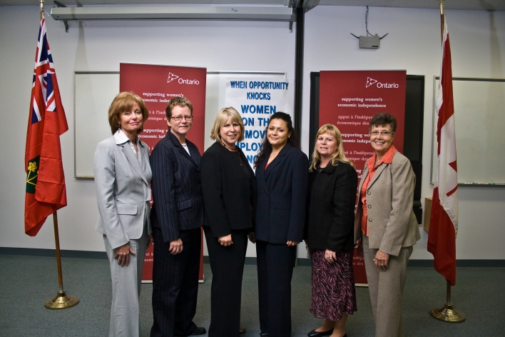 Minister Responsible for Women's Issues Deb Matthews and Parliamentary Assistant Maria Van Bommel (pictured far right) announce funding for employment training programs for women who have experienced or are at risk of domestic violence in Sarnia and Lambton. From L to R: They are joined by Judith Morris (Vice President, Lambton College), Gayle Montgomery (Circles Coordinator, Ontario Works), Georgina Morales (graduate of the Women on the Move Employment Now (W.O.M.E.N.) program) and Karen Hunter (Executive Director, Women's Interval Home of Sarnia-Lambton).