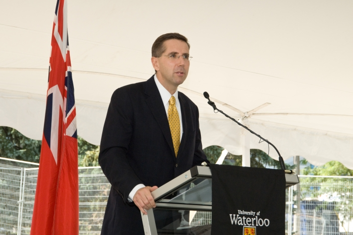 Minister Milloy speaks at University of Waterloo's KIP groundbreaking event for the Engineering Project Expansion.