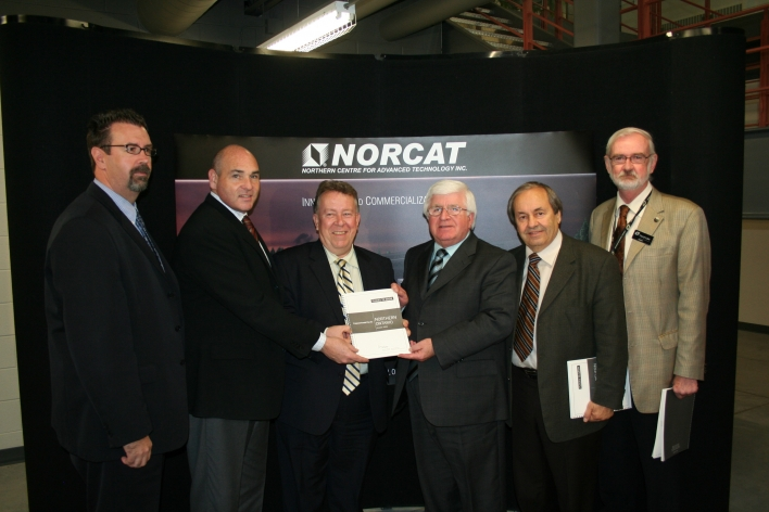 The proposed Northern Ontario Growth Plan was released today. On hand for the announcement were (pictured left to right) Mac Bain, North Bay City Councillor and President of the Federation of Northern Ontario Municipalities; George Smitherman, Deputy Premier and Minister of Energy and Infrastructure; Michael Gravelle, Minister of Northern Development, Mines and Forestry; Rick Bartolucci, Sudbury MPP and Minister of Community Safety and Corrections; John Rodriguez, Mayor of Greater Sudbury; and Darryl Lake, President and Chief Executive Officer of the Northern Centre for Advanced Technology (NORCAT).