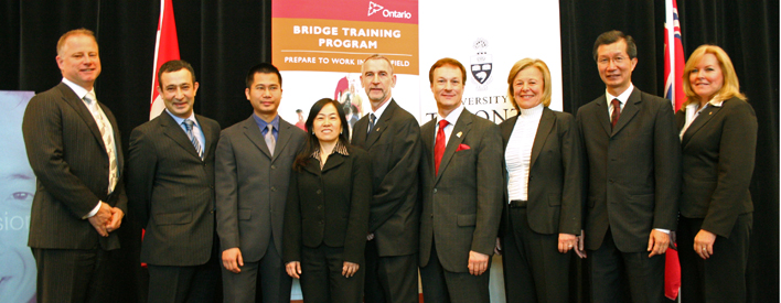 Newcomers, educators, employers and the Government are collaborating to make Ontario bridge training a success.