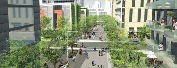 """Affordable and other new housing in Toronto's West Don Lands will be linked by accessible, pedestrian-friendly pathways - """"woonerfs"""" (or """"livable streets"""") originating in the Netherlands."""