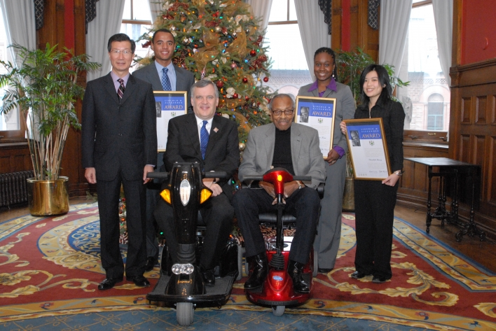 (Left to right)  Michael Chan, Minister of Citizenship and Immigration; Corey Sherwood, the Honourable David C. Onley, Lieutenant Governor of Ontario; the Honourable Lincoln M. Alexander, former Lieutenant Governor of Ontario; Heather Kere; Elizabeth Truong.