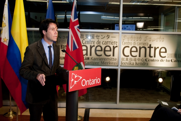 MPP Dr. Eric Hoskins, MPP for St. Paul's,  speaks at the CIITE funding announcement, from the local community perspective.