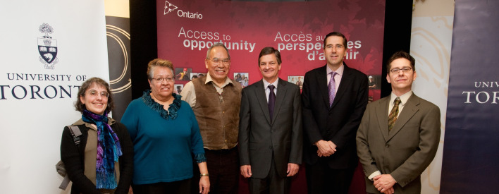 Minister Milloy with Elders from the First Nations House, Minister Bentley and Jonathan Hamilton-Diabo at the provincial Aboriginal postsecondary education announcement.