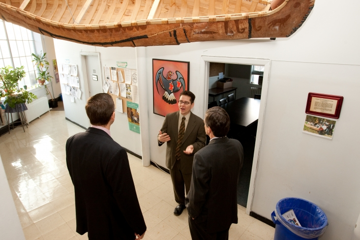 Jonathan Hamilton-Diabo, Director of the First Nations House and Ministers Milloy and Bentley tour the First Nations House at the University of Toronto.