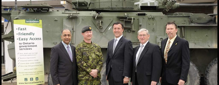 Government Services Minister Harinder Takhar and Bob Stark, Deputy Minister and CEO of ServiceOntario, announce the opening of a new ServiceOntario centre on the Canadian Forces Base Petawawa.  The new centre is a joint project between the Canadian Forces, the Town of Petawawa, Canex, and ServiceOntario.   From left to right: Minister Harinder Takhar, Base Commander of Petawawa, LCol Keith Rudderham, DM Stark, Petawawa Mayor Bob Sweet and Canex Vice-President Mac McMillan.