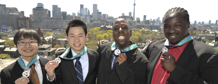 (L to R) Eric Tan, Gorick Ng, Neeka Allison and Bryan Peart are four of the twelve recipients of the Ontario Medal for Young Volunteers.