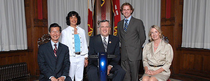 From left to right: Ontario Minister of Citizenship and Immigration Michael Chan, award recipient Bharati Sethi, Lieutenant Governor David Onley, award recipient Alan McLuckie, and former Lieutenant Governor Hilary M. Weston, on Wednesday, July 23, 2008, on the occasion of the first Hilary M. Weston Scholarship, in the Ontario Lieutenant Governor's suite at Queen's Park.
