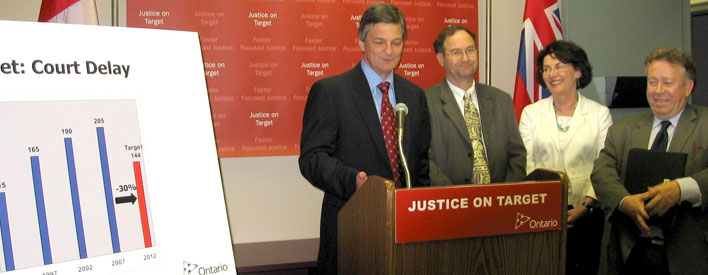 Attorney General Chris Bentley, in Thunder Bay with (L to R) Crown Attorney and Acting Regional Director North Region, Dan Mitchell, Executive Director, Legal Aid Ontario Thunder Bay, Jennifer Carten and Michael Gravelle, MPP Thunder Bay-Superior North, announces Justice on Target, Ontario's new strategy for faster, focused criminal justice.