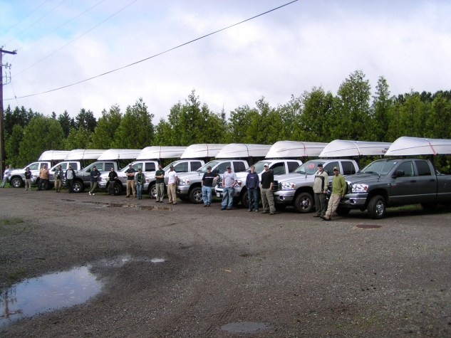 Ministry of Natural Resources crews prepare to begin their lake survey work.