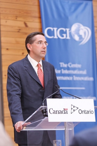 Minister Milloy announces provincial funding of $25 million towards the Balsillie Centre of Excellence in Global Policy, part of the Centre for International Governance and Innovation (CIGI) in Waterloo.