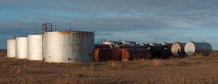 Tank farm at the harbour on Hudson Bay coast