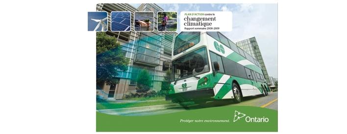 L'Ontario fait d'importants progrès en matière de réduction de ses émissions de gaz á effet de serre (GES), selon le Rapport annuel de mise en œuvre du Plan d'action contre le changement climatique 2008-2009, rendu public aujourd'hui.