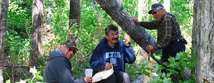 Elders take a break from verifying significant areas for community based land use planning; one is making a traditional moose call out of birch bark.